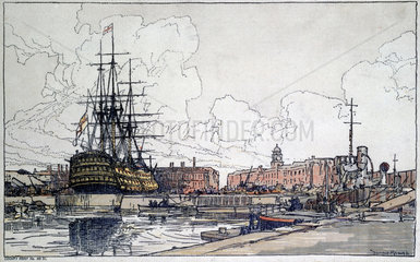 HMS 'Victory' at Portsmouth  c 1920s.