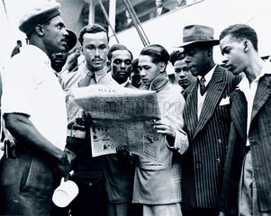 Jamaican immigrants arriving at Tilbury Docks  Essex  22 June 1948.