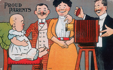 'Proud Parents'  postcards  c 1890-1910.