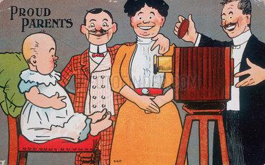'Proud Parents'  postcards  c 1890-1910.