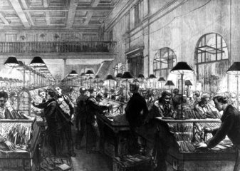 Post Office  stamping and sorting letters  1875.