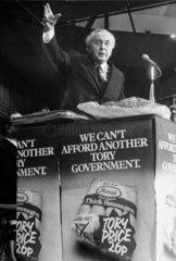 Harold Wilson making a speech  February 1974.