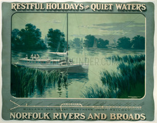 'Restful Holidays on Quiet Waters'  M & GNR poster  1914.