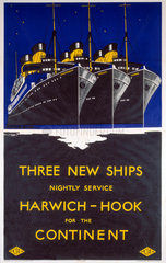 'Harwich - Hook for the Continent'  LNER poster  1923-1947.