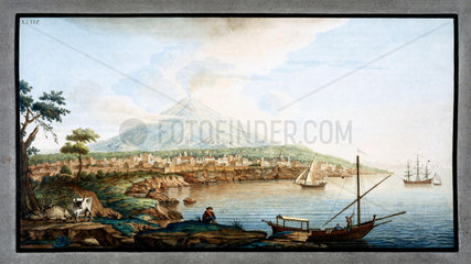 Mount Etna viewed from from Catania  Sicily  c 1770.