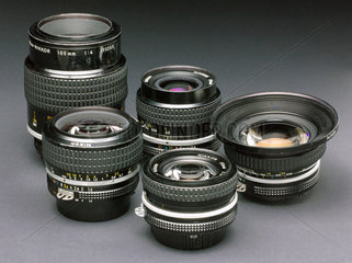 Selection of Nikkor bayonet fitting lenses for 35mm camera systems  c 1980s.