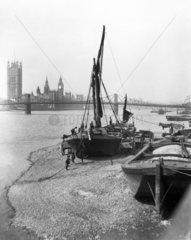 Barges on the River Thames  London  c 1920s.