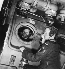 Royal Air Force aircraft controllers at wor