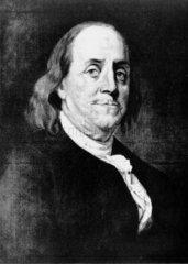 Benjamin Franklin  American theorist on static electricity  c 1760.