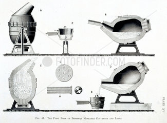 The First Form of Bessemer Moveable Converter and Ladle'  c 1860.