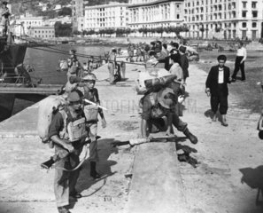 British troops landing at Salerno docks  Italy  WWII  11 September 1943.