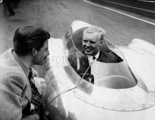 Mike Hawthorn in the cockpit of a Lotus 'Climax'  12 April 1956.