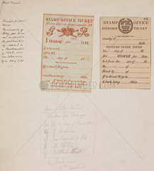 Two receipts for post horses  early 19th century.