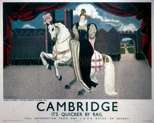 'Cambridge  it's Quicker by Rail'  LNER poster  1923-1947.