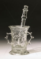 Glass mortar and pestle  c 17th century.