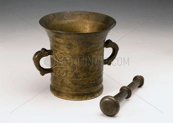 Bronze pestle and mortar  European  18th century.