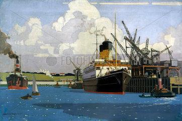 SS 'Duke of Argyll' moored alongside a quay  c 1928-1948.