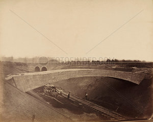 Construction of the Metropolitan District Railway  Earls Court  London  c 1867.