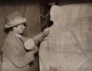 A sculptor working on Liverpool Anglican Cathedral  1934.