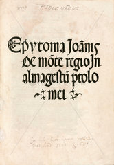 Title page from Ptolemy's 'Almagest'  1496.