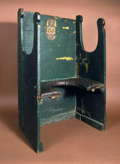 The 'Miraculous Chair of Palermo'  parturition chair  early 18th century.