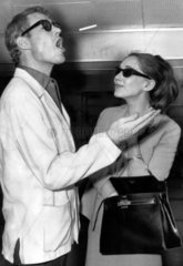 Peter O'Toole and wife Sian Phillips  London Airport  1964.