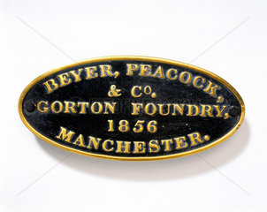 Beyer  Peacock and Co brass name plate  185