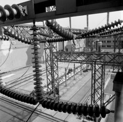 Exterior shot of transformer reactor chain  English Electric  Stafford. 1963.