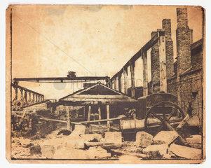 A construction site  c 1855.