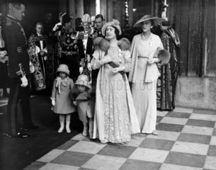 Queen Elizabeth and princesses leaving St Paul's Cathedral  6 May 1935.