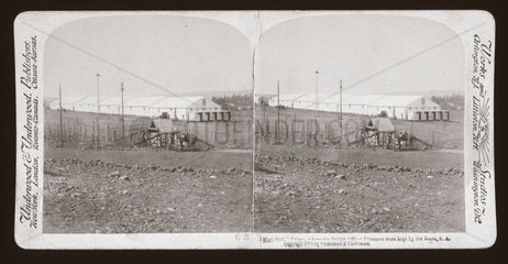 'A 'Mud Hall' Prison  where British Officer Prisoners were kept  South Africa'  1900.