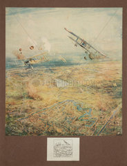 Aerial battle over Ypres  Belgium  1914-1918.