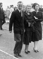 Jennie Lee arriving at Aneurin Bevan's fune