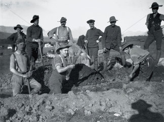 Soldiers digging a trench  Boer War  c 1900.