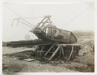 Mark I tank crossing a trench  c 1917.