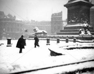 Snowy Trafalgar Square  London  21 December