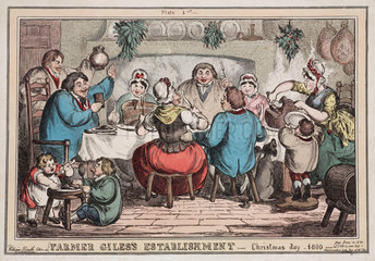 Farmer Giles' Establishment'  Christmas Day  1830.