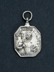 Silvered religious amulet worn as a pendant  19th century.