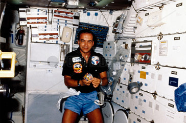 French astronaut Patrick Baudry aboard the Space Shuttle Discovery  1985.