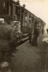 Busy station scene  Second World War  1940s.