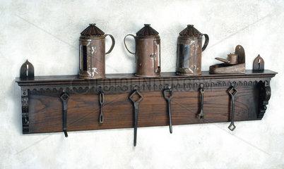 Print room shelf and tools  16th century.