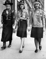 Old and new Girl Guides uniforms  July 1965.