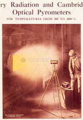 Illustration of a man operating an optical pyrometer from the Cambridge Scientific Instrument Co.