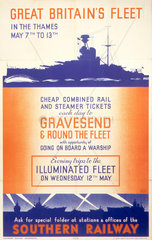 'Great Britain's fleet in the Thames'  SR poster  1937.