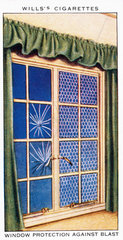 'Window Protection Against Blast'  Wills cigarette card  1938.
