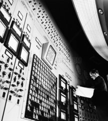 Operator and main control room at Hinkley Point nuclear power station.