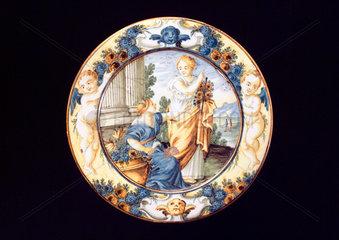 Tin glazed earthenware plate  Italian  c 18th century.