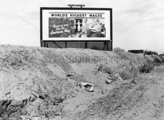 Billboard on Highway 99  California  USA  March 1937.