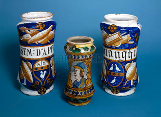 Three Italian earthenware pharmacy jars  1520-1580.
