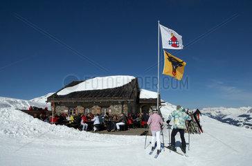 Vaz  Schweiz  die Junehuette im Skigebiet von Lenzerheide